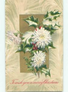 Pre-Linen christmas SNOW-COVERED HOLLY WITH WHITE FLOWERS k1046
