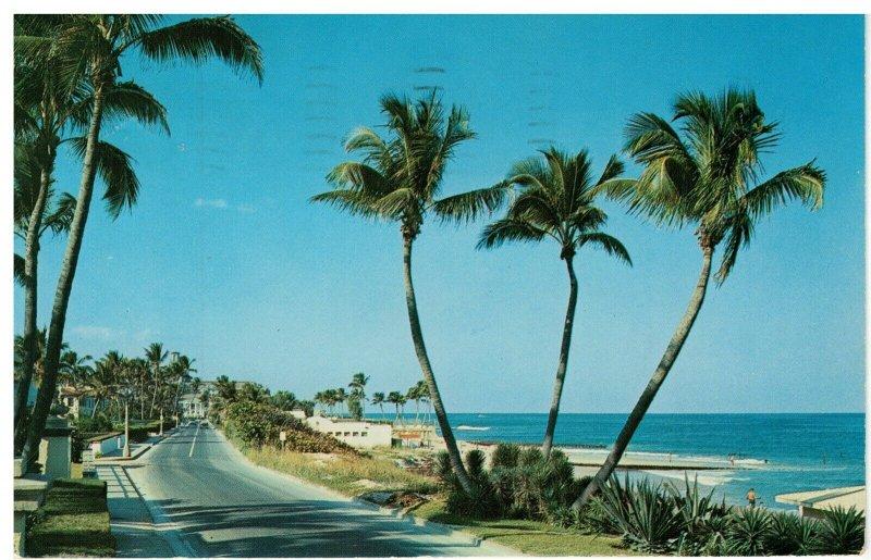 Postcard - Beach View From Ocean Blv'd. in Palm Beach, Florida
