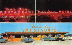 Greenville IL Bel Air Restaurant & Motel Old Cars Postcard