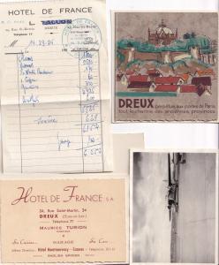Dreux Hotel De France Paris 1954 Receipt Plane Photo 4x Ephemera