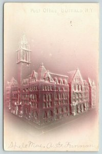 Buffalo New York~Post Office~Mauve to Tan Airbrushed Embossed Postcard~1906 IPCC