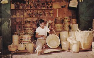 TIJUANA, Mexico, 1940-1960s; Basket Being Made By Hand