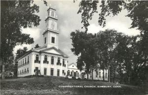 Simsbury Connecticut~Congregational Church~1930s B&W Postcard