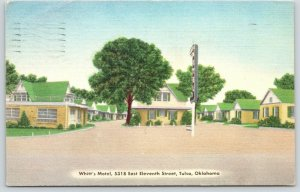 Tulsa Oklahoma~Whitt's Motel~Roadside Cottages~Route 66~1954 Linen Postcard