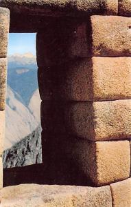 Peru Old Vintage Antique Post Card Through a Window of the Ruins fo Machupicc...
