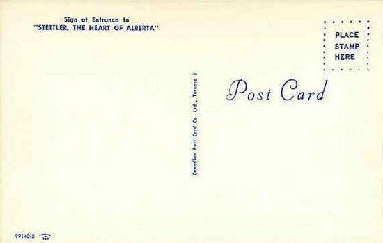 Canada, Alberta, Stettler, Sign at Entrance, Canadian Post Card 99140-B