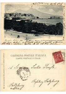 CPA AK NAPOLI Villa Municipale gia Nazionale e Panorama ITALY (534282)