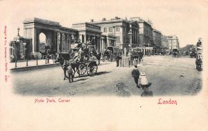 Hyde Park Corner, London, England, Early Postcard, Unused, Horse & Carriage