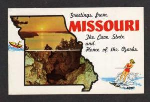 MO Greetings from MISSOURI  State Map Ozarks Postcard