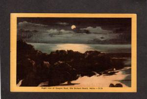 ME Night View Moon Googins Rock Old Orchard Beach Maine Postcard Linen