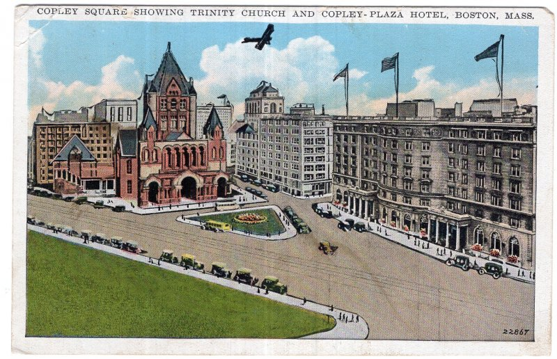Boston, Mass, Copley Square Showing Trinity Church and Copley Plaza Hotel