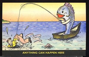Vintage Humor Anything Can Happen Fishing Rowboat