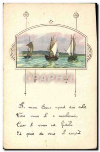 Old Postcard Fancy (drawing hand) Boats