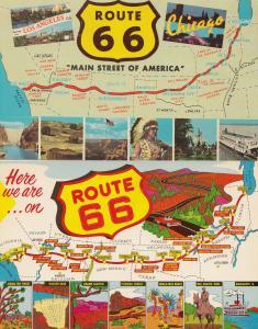 Route 66 Signpost 2x Map Postcard s