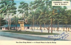 Prattville Alabama~Cinderella Motel~Front View~1940s Linen Roadside Postcard