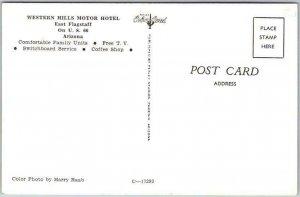 1950s FLAGSTAFF, Arizona ROUTE 66 Roadside Postcard WESTERN HILLS MOTOR HOTEL