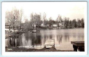 RPPC  RANDALL BEACH, Tommy Lake, Michigan MI ~ COTTAGES ca 1930s  Postcard
