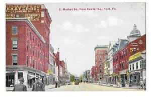 York PA E. Market Street from Center Square Vintage Postcard