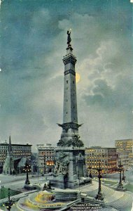 INDIANAPOLIS IN~SOLDIERS & SAILORS MONUMENT AT NIGHT BY MOONLIGHT 1910s POSTCARD