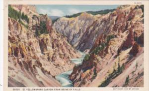 Yellowstone Canyon From Brink Of Falls Yellowstone National Park Curteich