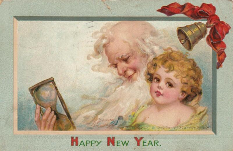 AS; Frances Brundage, PU-1911; NEW YEAR, Father Time & Baby, Hourglass, Bell