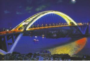 Lupu Bridge Shanghai China Cityscape At Night Postcard D15