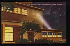 Virginia postcard Public Library night-time Roanoke