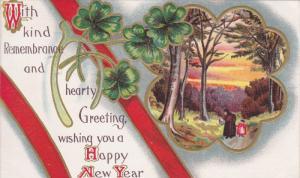 NEW YEAR; Greeting, Shamrocks, Wishbone, Country scene, gold detail, 00-10s