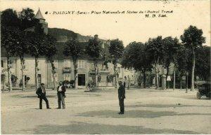 CPA Poligny- Place Nationale,Statue du General Travot FRANCE- (1044310)