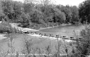 Winterset Iowa~State Park Scene~Unique Road Bridge on River~1950s Real Photo PC