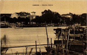 CPA AK Cambodge - Phnom-Penh - Town and River Scene INDOCHINA (967366)