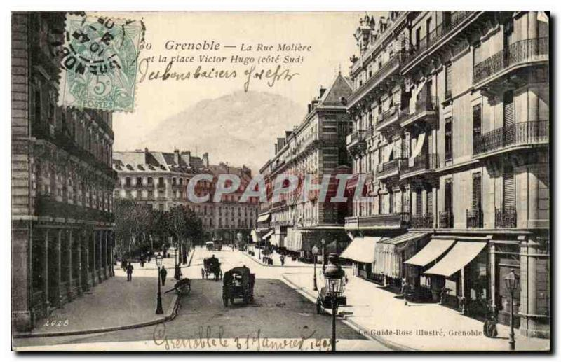 Grenoble - the Street Moliere - the Place Victor Hugo - CPA