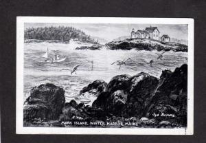 ME Winter Harbor Light House Lighthouse Mark Island Maine Artist Signed Postcard