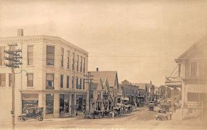 Caribou ME Street View Drug Store Store Fronts Old Cars RPPC Postcard