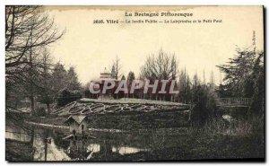 Old Postcard Vitre The Public Garden Labyrinth and the Petit Pont