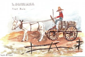 Louisiana First Bale Donkey Pulling Cart Load Of Cotton By Mable G Hust