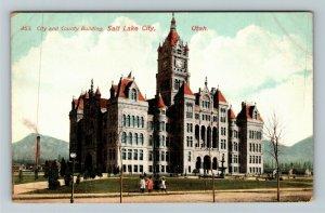 Salt Lake City UT-Utah City & County Building Clock Tower Girls Vintage Postcard
