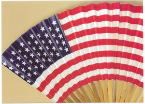 US Patriotic Postcard. Hand fan. issued 2003