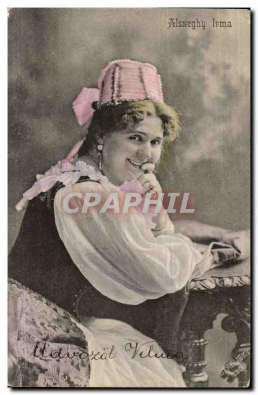 Fantaisie - Femme - Busty Woman in traditional hat (carte hongroise Hungary Hong