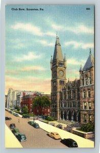 Scranton PA-Pennsylvania, Club Row, Linen Postcard
