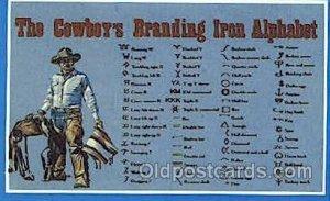 Cowboy's Branding Alphabet Western Cowboy, Cowgirl Unused