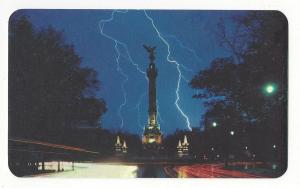 Mexico Monumento Independencia Night View Lightning Strike