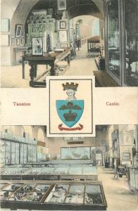 Taunton England~Coat of Arms~Interior Taunton Castle~1907 Postcard
