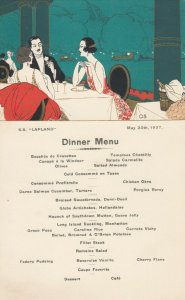 RED STAR Line Ocean liner S.S. LAPLAND , 1927 ; Menu Postcard