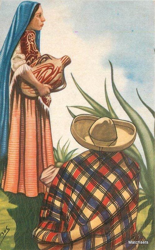 1940s Artist Impression Signed Jesus Water Carrier Mexico postcard 8744