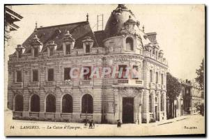 Old Postcard Bank Caisse d & # 39Epargne Langres