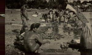 Mexico - Mexican Women Washington Clothes & Bathing c1910 Postcard