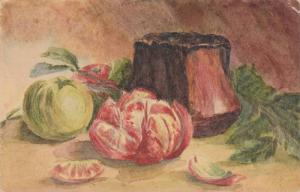 Still Life Painting of Green Tomato & Sliced Red Tomato on Table 1927