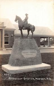 F14/ Mandan North Dakota RPPC Postcard c1930s Roosevelt Statue 4