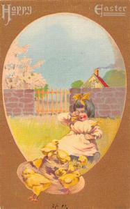Happy Easter Little Girl Chicks With Hat Antique Postcard K72805